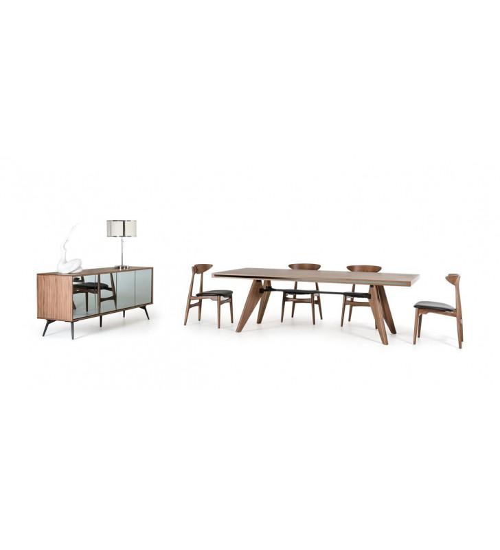 Kennedy Walnut Dining Table Set 7 Pcs Modern Contemporary VIG Modrest