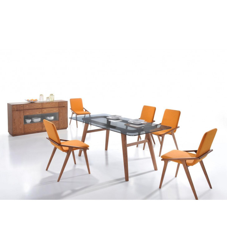 Rectangular Glass Dining Table Set 7Pcs Orange Chair VIG Modrest Zeppelin Modern