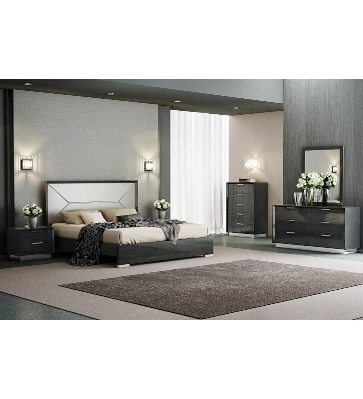 J&M Monte Leone Modern Grey Lacquer Queen Size Bedroom Set 5Pcs Made in Italy