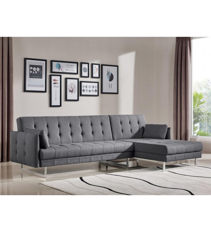 Grey Fabric Sectional Sofa Bed Contemporary VIG Divani Casa Lennox Modern