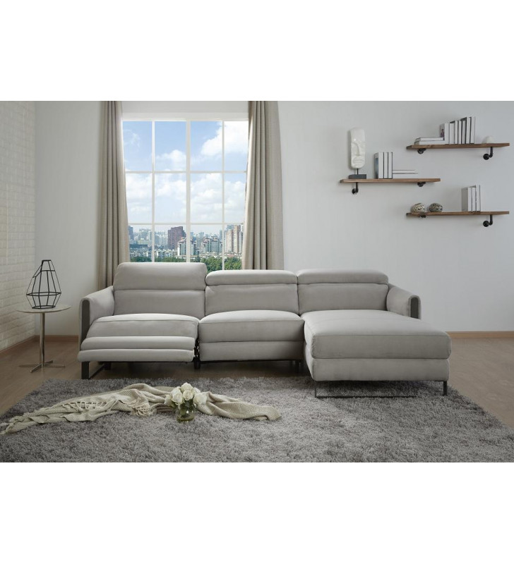 Contemporary Gray Right Hand Chase Recliner Sofa Microfiber J&M Furniture