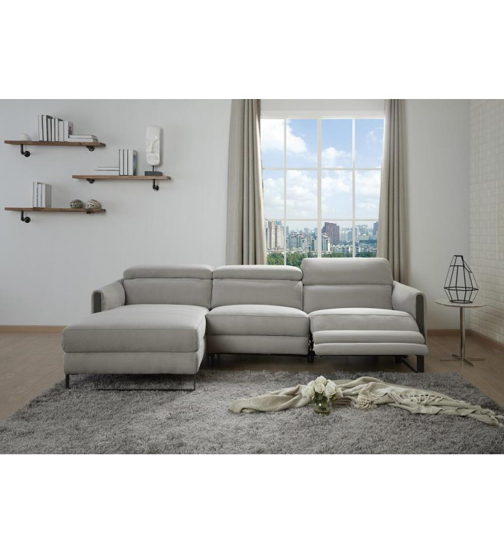 Contemporary Gray Left Hand Chase Recliner Sofa Microfiber J&M Furniture