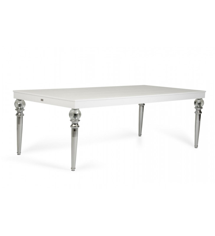Glossy White Crocodile Texture Dining Table VIG A&X Baccarat Transitional
