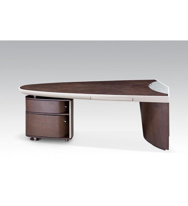 Home Office Computer Desk Brown Oak & Grey Nolan VIG Modrest Contemporary