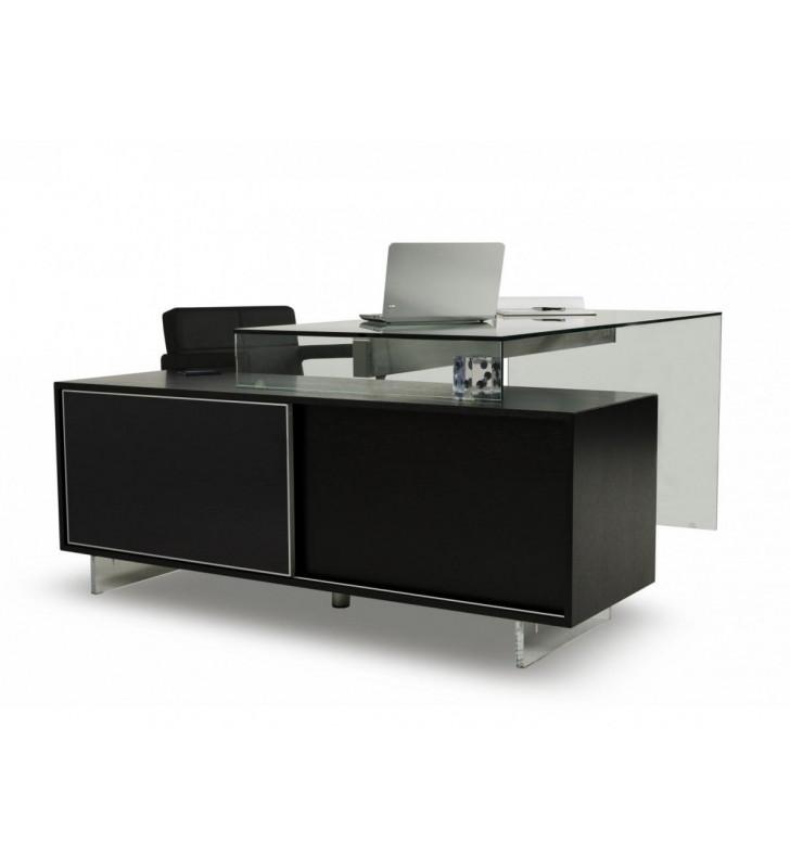 Home Office Computer Desk Black Oak & Glass VIG Modrest Alaska Contemporary