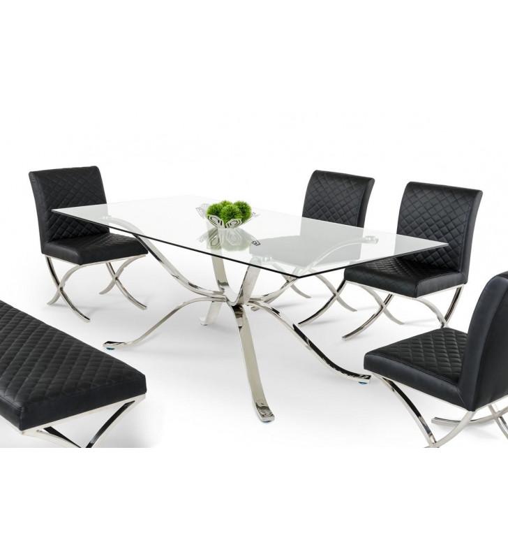 Rectangular Dining Table Stainless Steel w/Glass Top VIG Modrest Adderley Modern