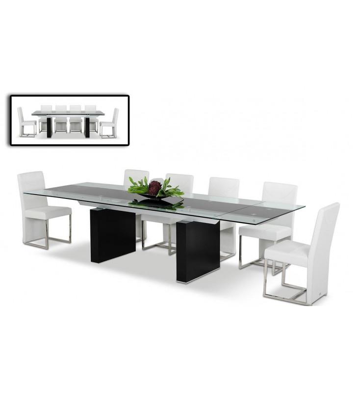 Extendable Glass Top Dining Table VIG Modrest Lisbon  Modern Contemporary
