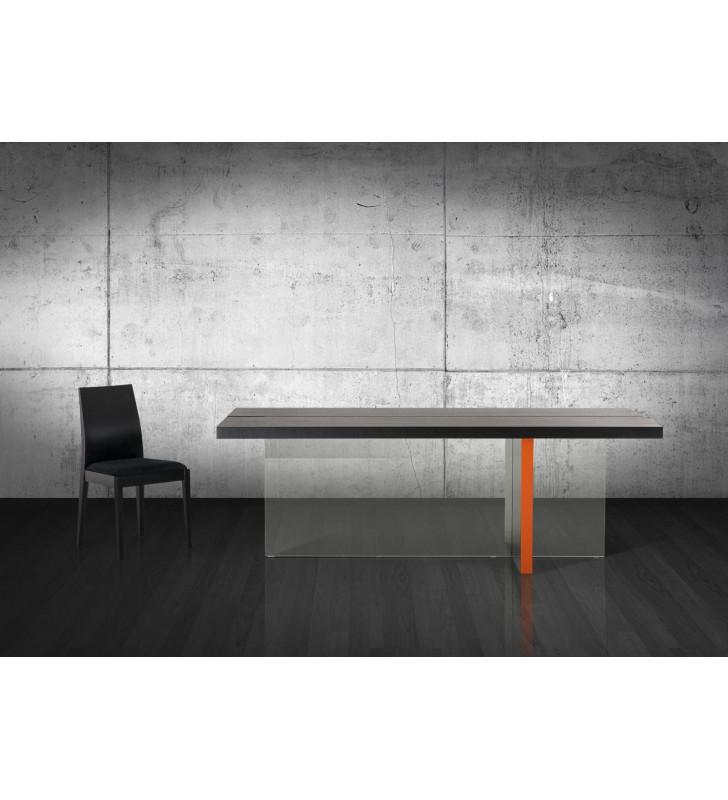 Black Oak Floating Dining Table VIG Modrest Vision Modern Contemporary