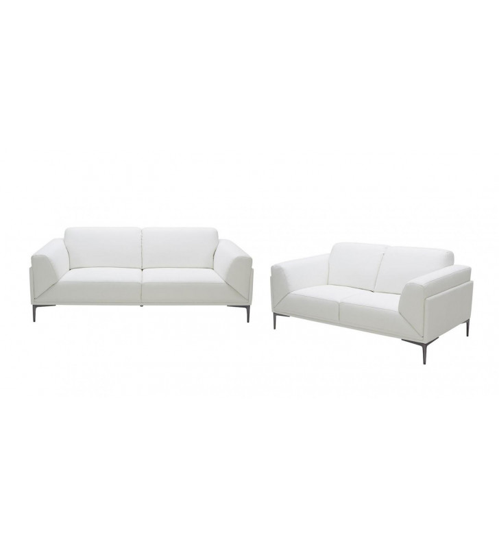 White Premium Italian Leather Sofa Set 2Pcs Modern J&M Davos