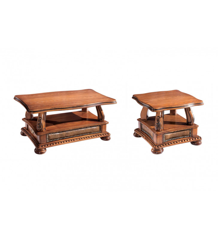 ESF Oakman Traditional Walnut Lacquer Finish Coffee and End Tables Set 2Pcs