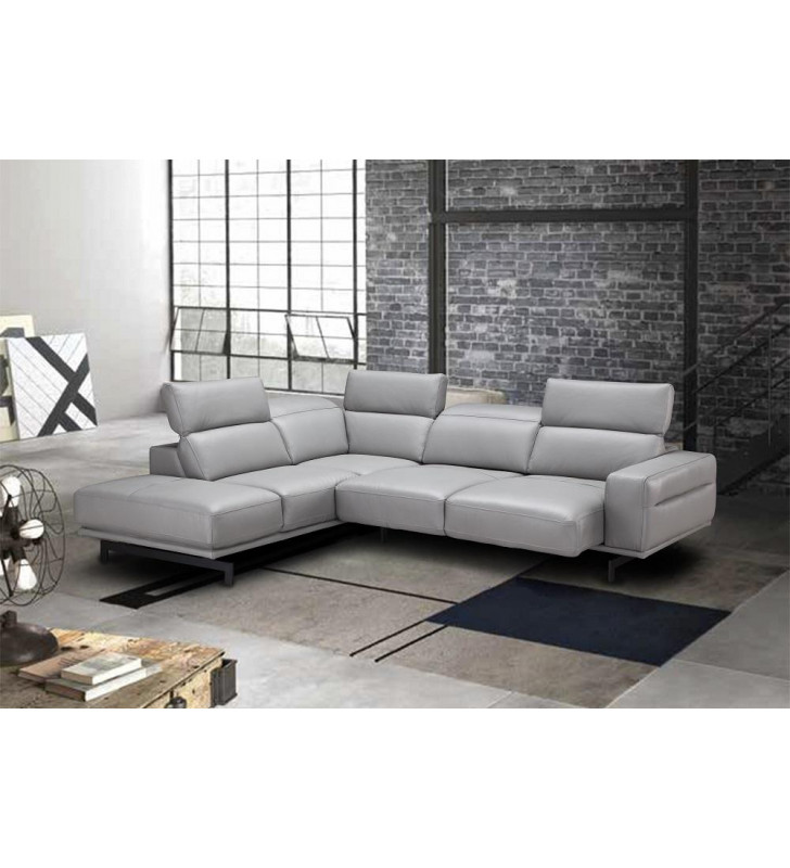J&M Davenport Contemporary Element Grey Top Grain Leather Sectional Sofa Bed LHC
