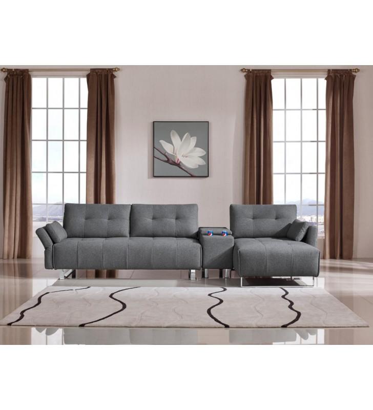 Grey Fabric Sectional Sofa w/ Storage Contemporary VIGDivani Casa Testro Modern