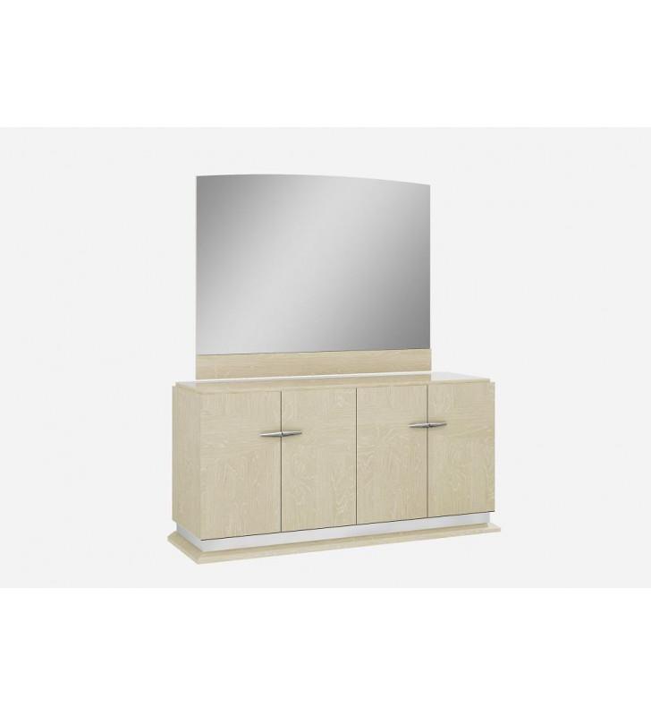 J&M Chiara Contemporary Light Walnut High Gloss Veneer Buffet & Mirror