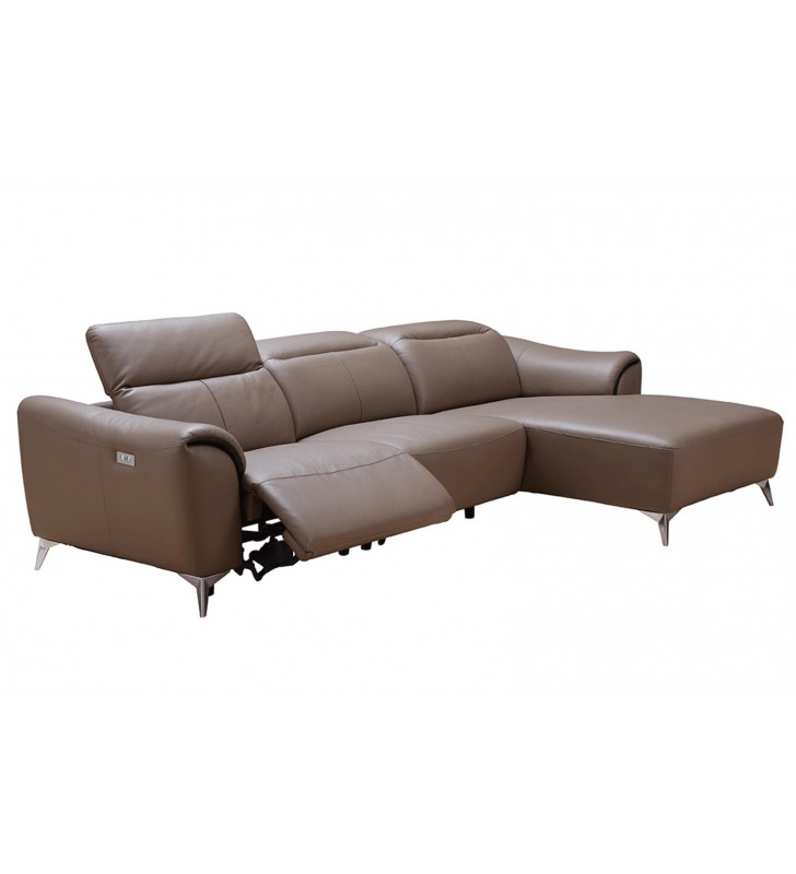 Brown Top-grain Leather Electric Recliner Sectional Sofa Right Modern ESF 950