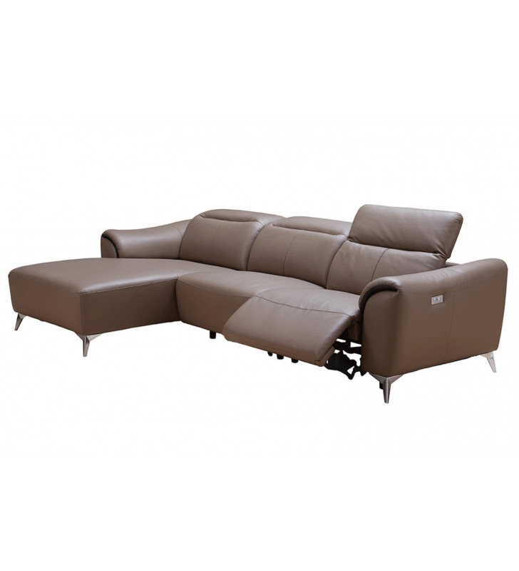 Brown Top-grain Leather Electric Recliner Sectional Sofa Left Modern ESF 950