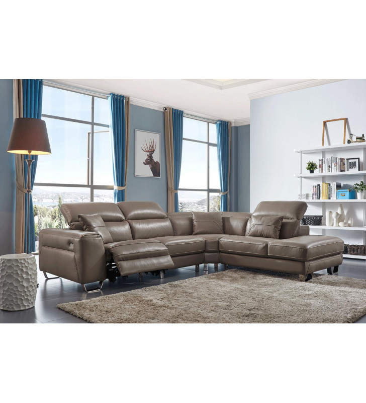 Brown Top-Grain Leather Electric Recliner Sectional Sofa Right Modern ESF 468