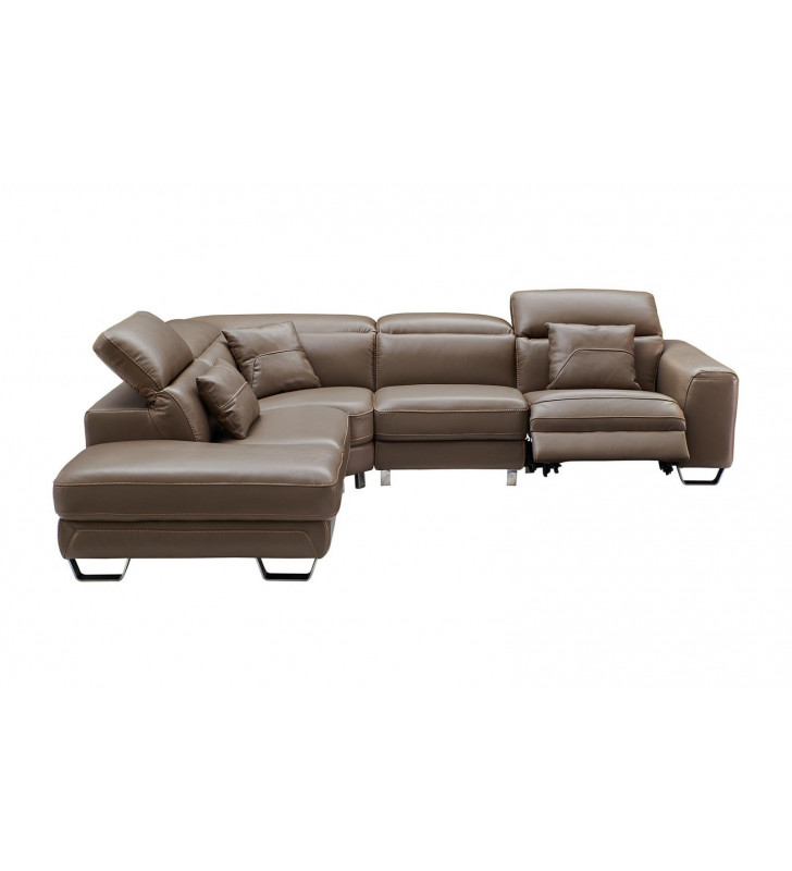 Brown Top-Grain Leather Electric Recliner Sectional Sofa Left Modern ESF 468