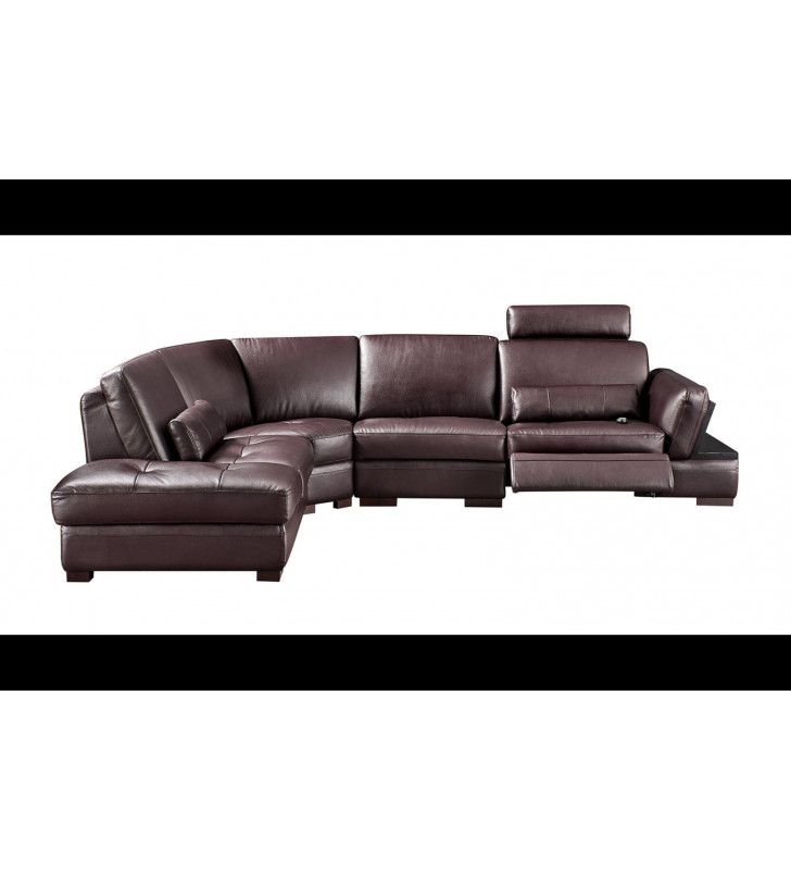 Brown Top-Grain Leather Electric Recliner Sectional Sofa Right Modern ESF 445