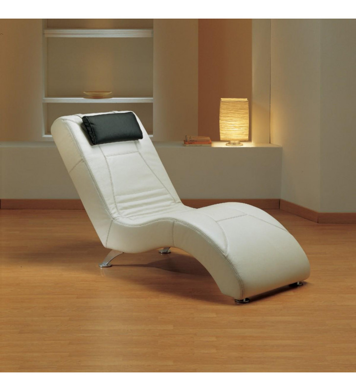 VIG Estro Salotti Viva White Italian Full Leather Lounge Chaise SPECIAL ORDER