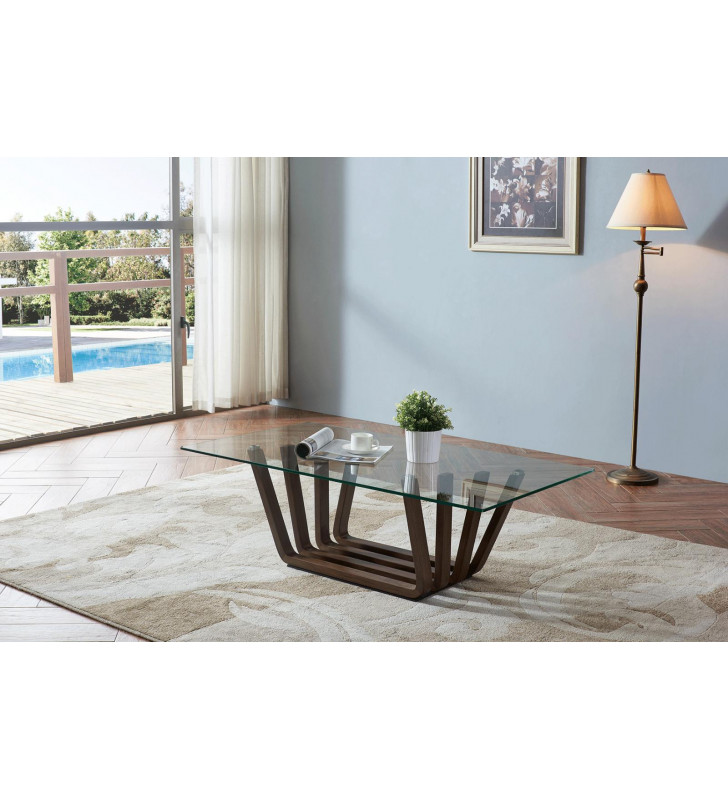 ESF 1330  12 mm Tempered Glass Coffee & End Table Set 2 Pcs Contemporary
