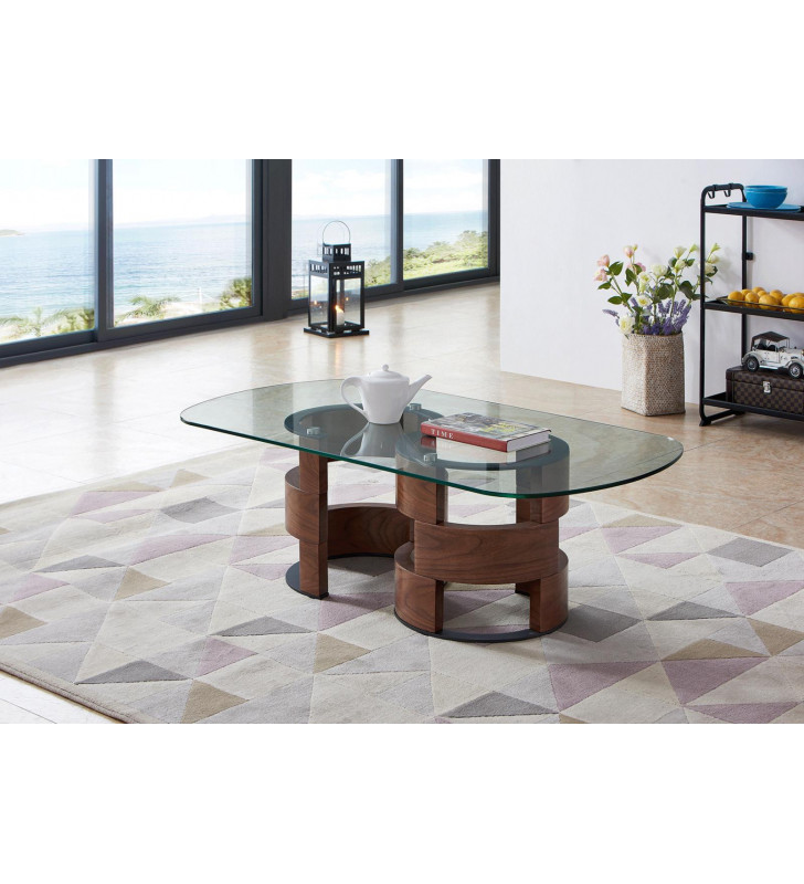 ESF 1601 10 mm Tempered Glass Coffee & End Table Set 2 Pcs Contemporary