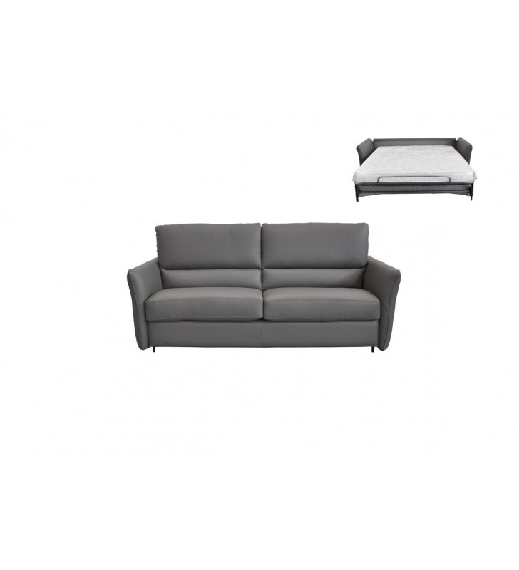Full Italian Grey Leather Sofa Bed VIG Estro Salotti Smack Contemporary