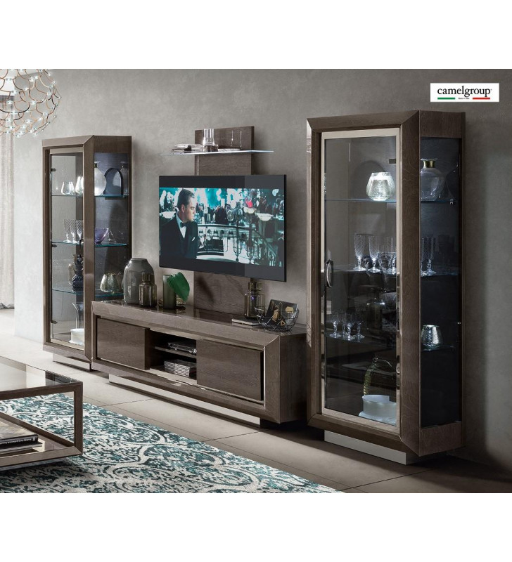 Contemporary High Gloss Walnut Entertainment Center 4Ps Made in Italy ESF Elite