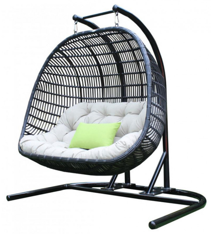 Outdoor Swing Chair Black & Beige Bamboo Rattan Seat VIG Renava San Juan