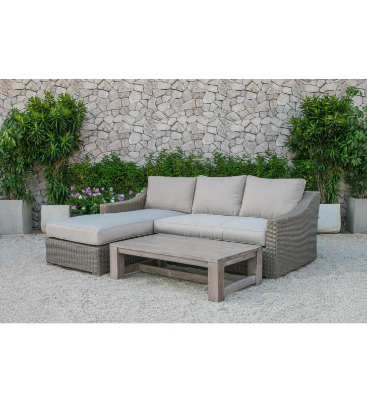 Outdoor Poly Rattan Wicker Sectional Sofa & Coffee Table Modern VIG Renava Seacliff