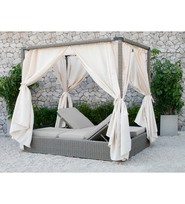 Outdoor Beige Canopy Curtain Sunbed Modern Vig Renava Marin Contemporary