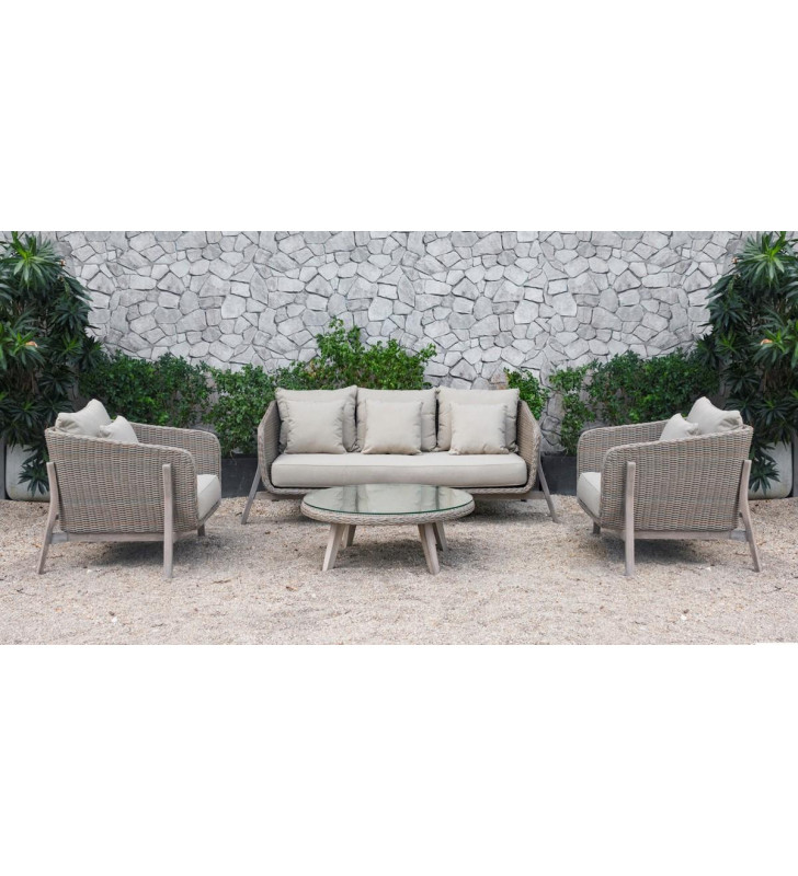 Outdoor Beige Waterproof Fabric Wicker Sofa Set 4Pcs VIG Renava Carillo
