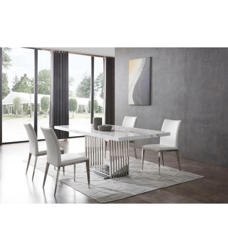 Genuine Marble & Stainless Steel Dining Table VIG Modrest Kingsley Modern