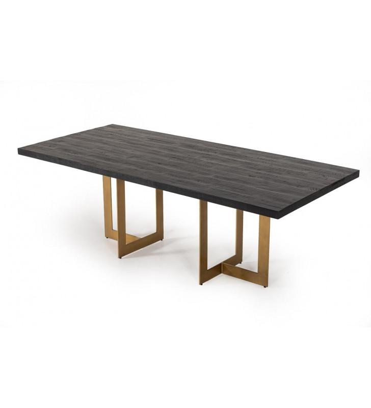 Black Acacia & Antique Brass Dining Table VIG Modrest Cheryl Modern Contemporary