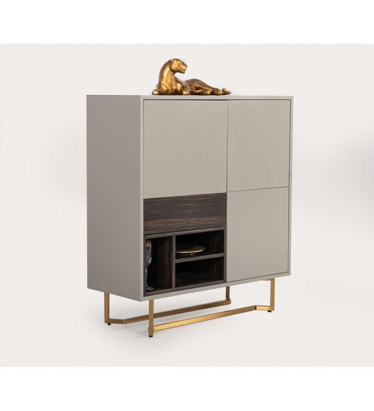 3 Doors Grey & Ebony Tall Buffet VIG Modrest Deegan Modern Contemporary
