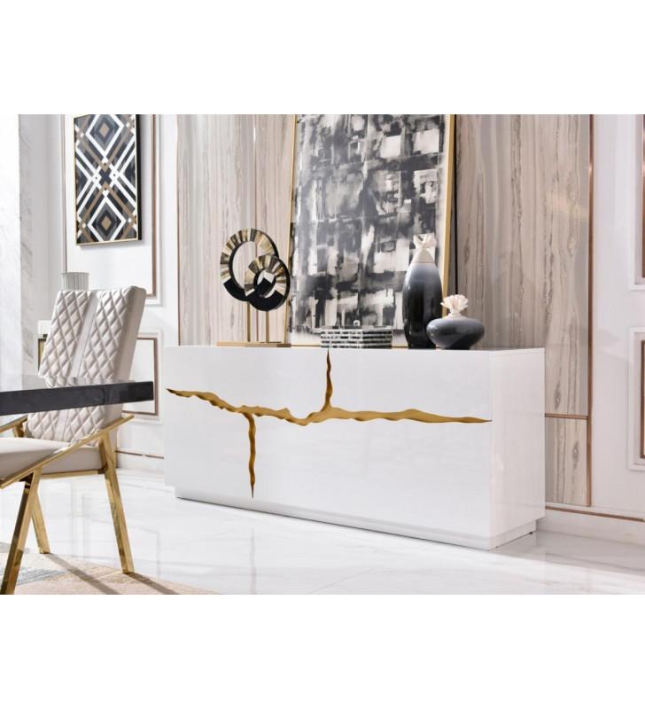 Glossy White & Gold Buffet Contemporary VIG Modrest Aspen Modern