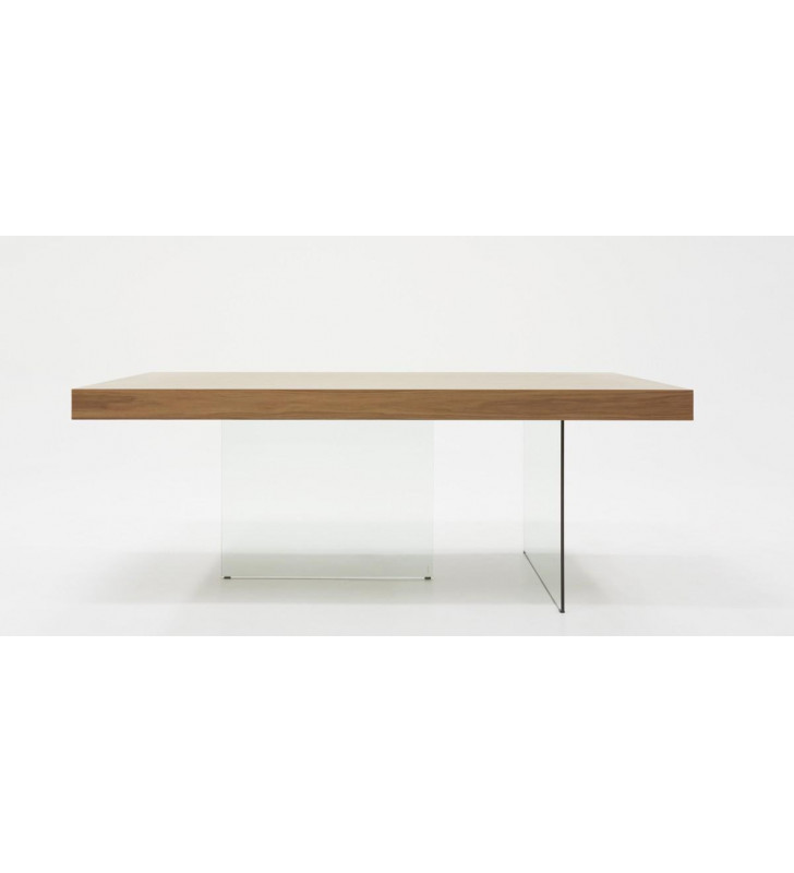 Walnut & Tempered Glass Dining Table Modrest Encino Modern Contemporary