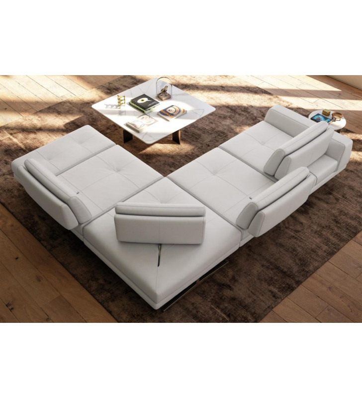 Accenti Italia Bellagio Modern White Leather Sectional Sofa Made In Italy