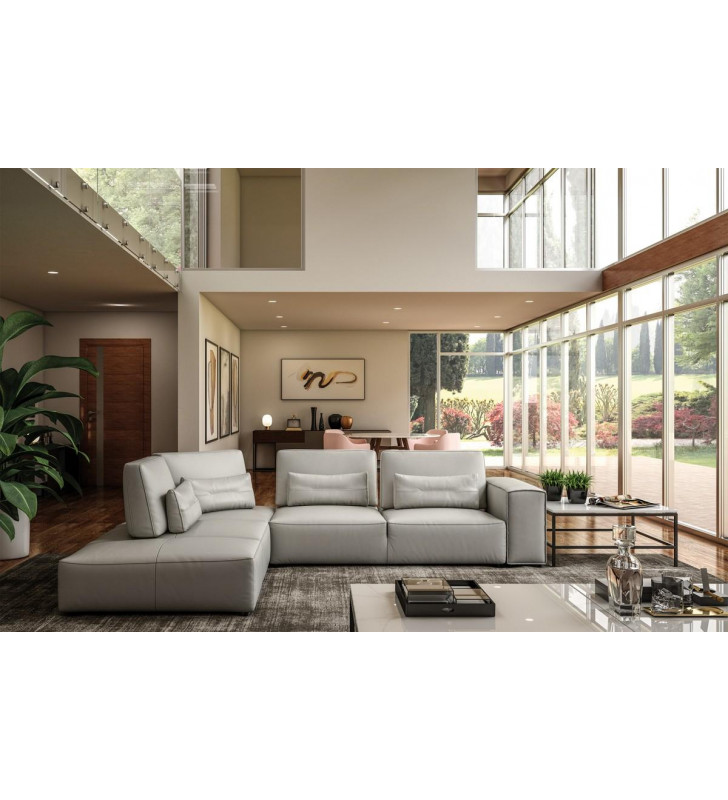 Accenti Italia Enjoy Light Grey Genuine Leather Sectional Sofa Made In Italy