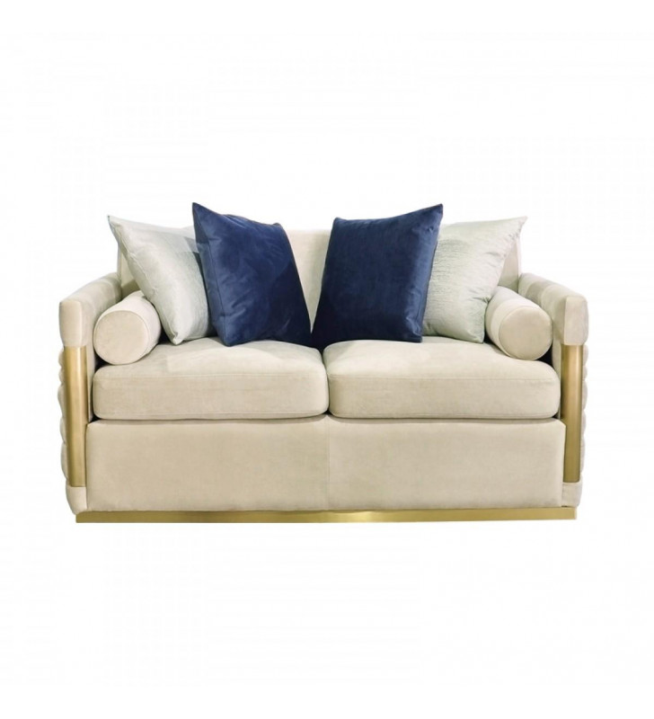 Beige Fabric & Gold Loveseat VIG Divani Casa Tenaya Modern Contemporary