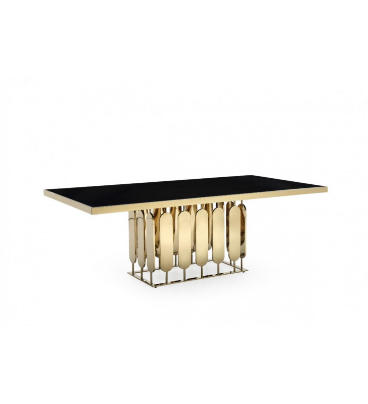 Black Glass & Gold Stainless Steel Dining Table VIG Modrest Griffith Modern