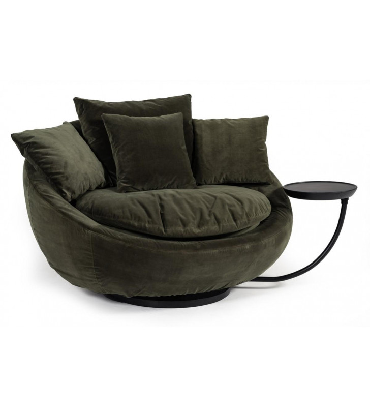 Green Velvet Swivel Lounge Chair VIG Divani Casa Pascal Round Contemporary
