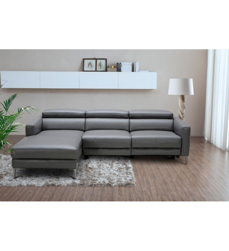 Dark Grey Leather Sectional Sofa w/ Electric Recliner VIG Divani Casa Booth
