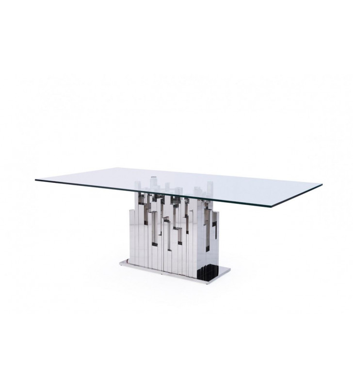 Tempered Glass & Stainless Steel Dining Table VIG Modrest Edwin Contemporary