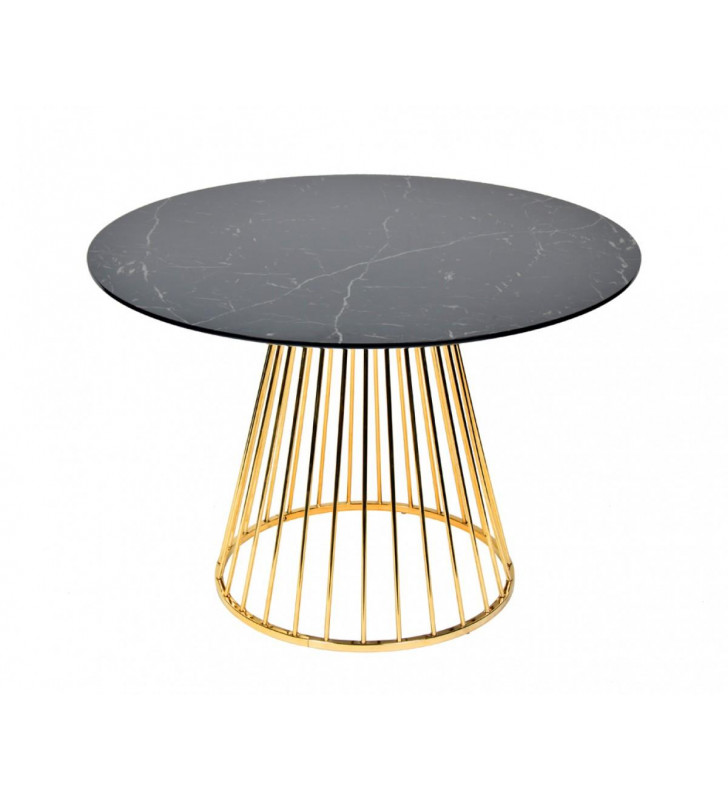 Black & Gold Round Dining Table VIG Modrest Holly Modern Contemporary