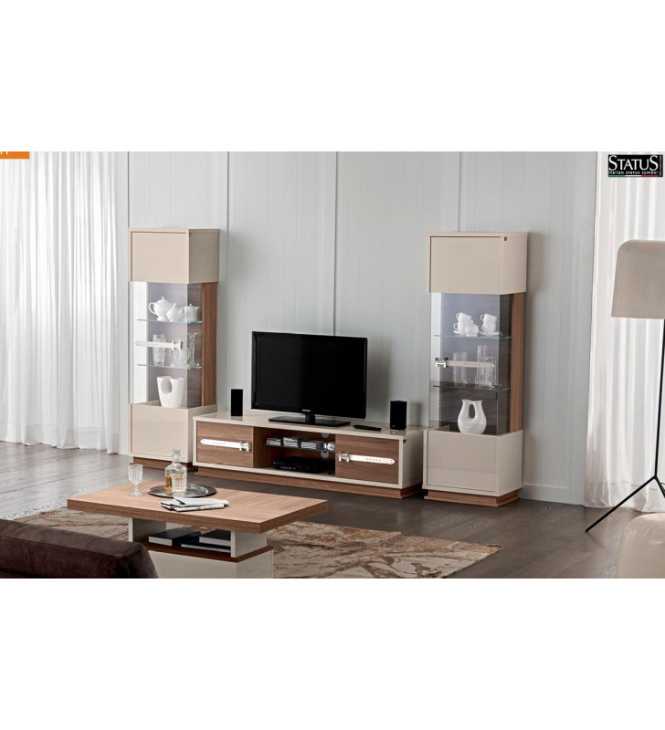 ESF Evolution Wall Unit Modern Wood Entertainment Center Set 3Pcs Made in Italy