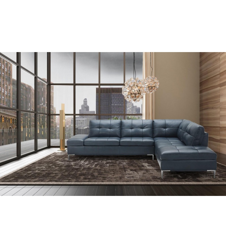 Contemporary Blue Italian Premium Leather Sectional RHF Chaise Leonardo J&M