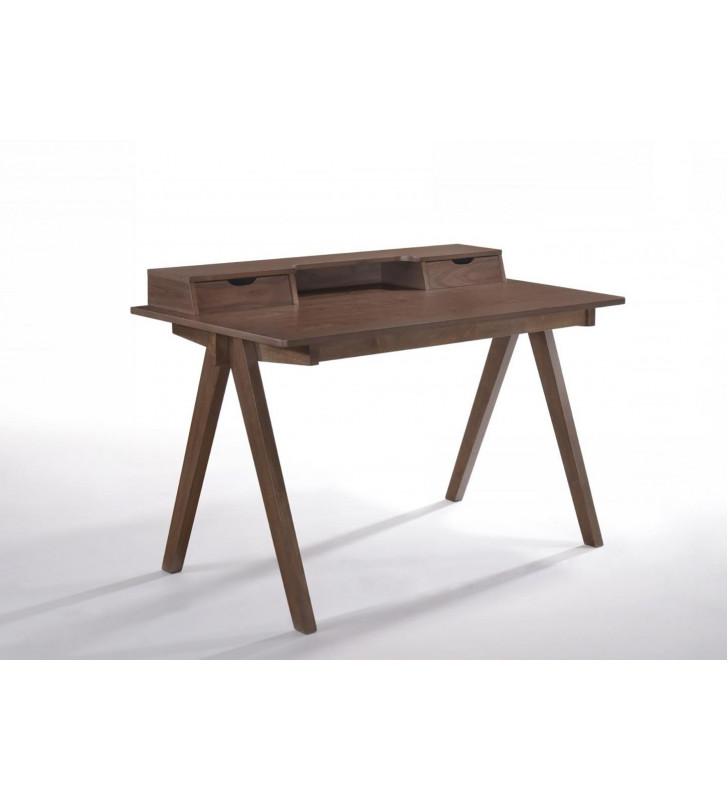 Home Office Secretary Desk Walnut Solid Wood Modrest Boyce VIG Contemporary