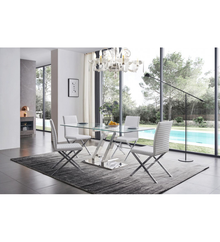 Tempered Glass Dining Table 160 Set w/85 White Chairs Modern 7Pcs ESF ZZ