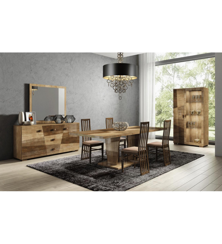 Dining Room Set 8 PCS w/Extension Brown Beige Modern Made in Italy ESF Picasso