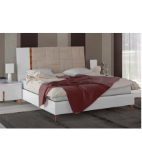 ESF Sirio High Gloss White Finish Queen Bed Contemporary Modern Made in Italy